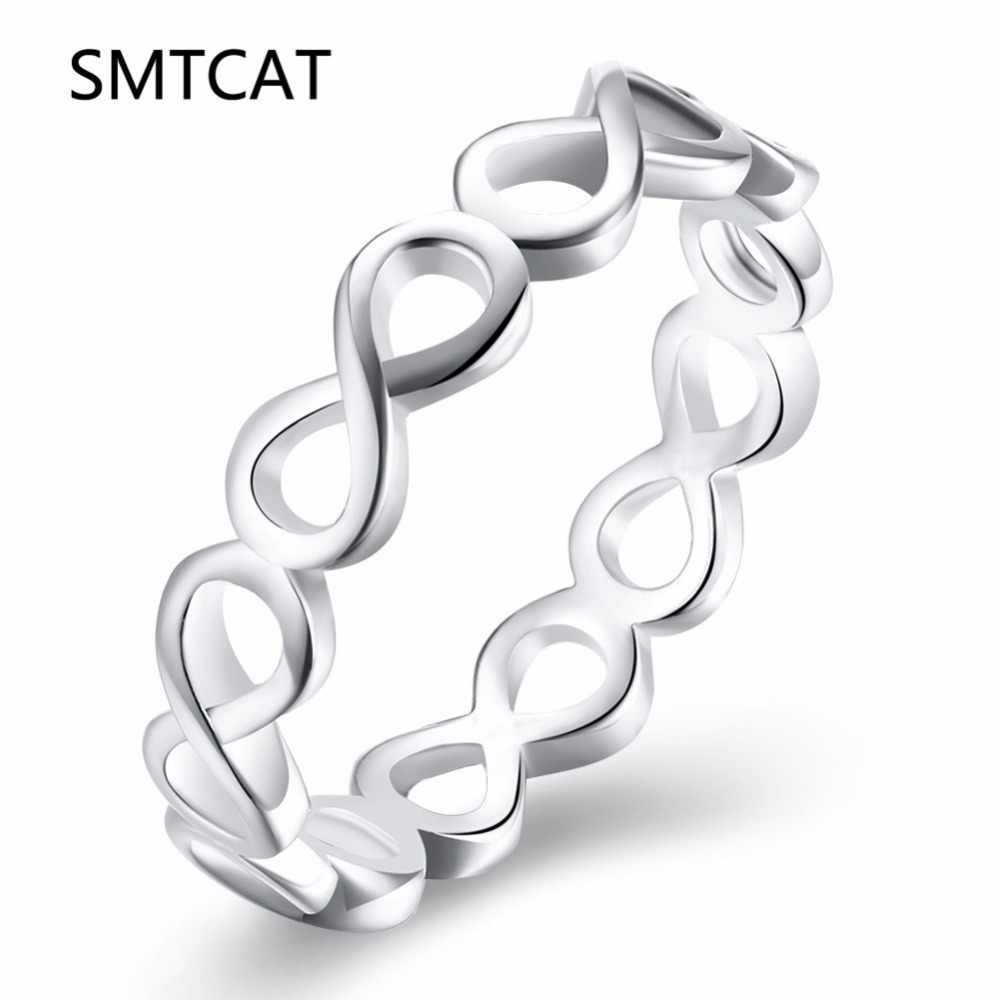 Fashion 925 stamped Sterling Silver jewelry Infinity Endless Love Symbol claddagh 8 shape Eternity Rings For Women anel feminino