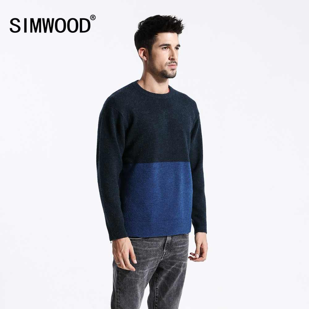 SIMWOOD Fashion Blue & Black Contrast Color Sweater Men Slim Fit Knit Mix Wool High Quality Brand Clothes Pullovers 180536