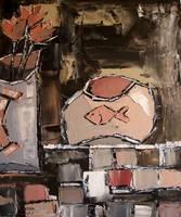 Animal Pintura Abstrata moderna Da Arte Da Parede para Decoração de Casa De Peixes no Aquário com Flores Atelier de Jiel Reproduções De Petróleo por mão