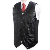 Man Spring Plus Size 100% Sheepskin Vests Male Autumn Oversize 100% Genuine Leather Vest Men Sheepskin Waistcoat Cuero Chaleco