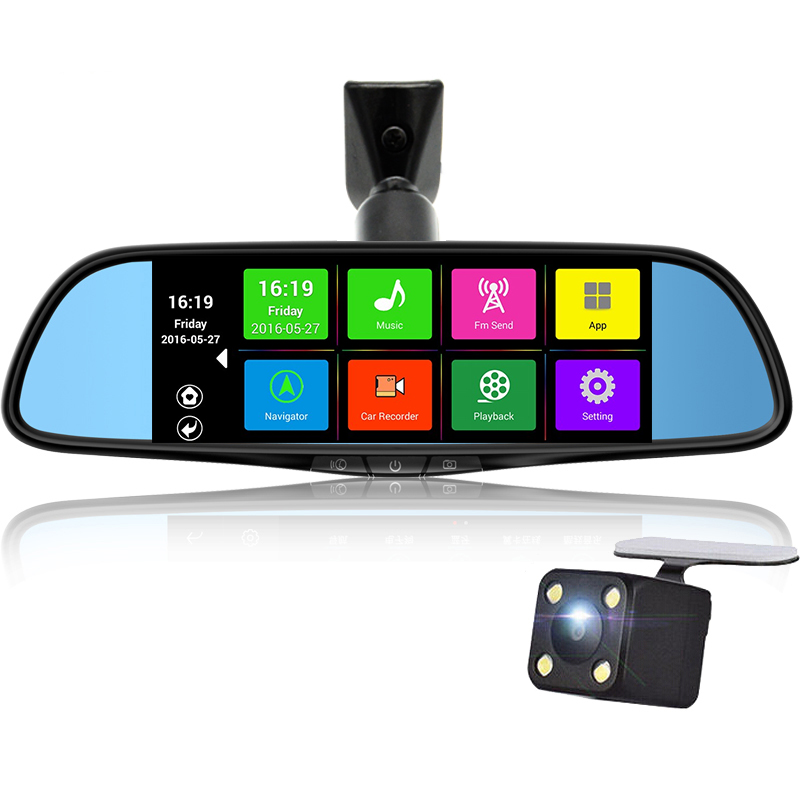 Special Car DVR Camera 7 Touch Screen Mirror Rearview GPS Bluetooth 16GB Android 4 4 Dual