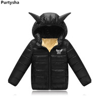 2018 Baby Boy Winter Clothes Cartoon Wings Hooded Down Jacket For Girls And Boys Short Black Parka Toddle Kids Coat 3 Years O