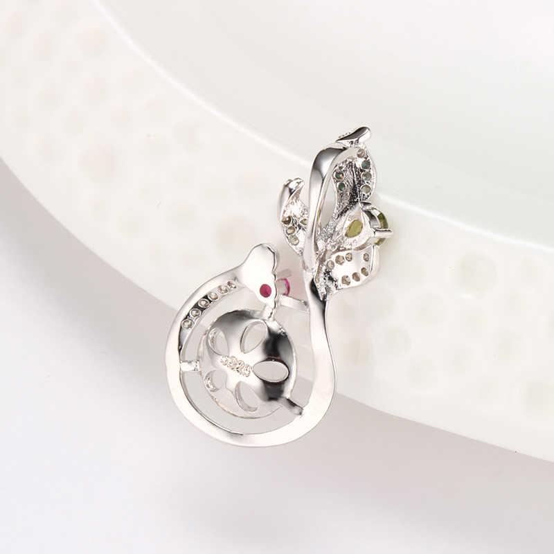 Dainashi 5 pc argent fin plaqué trois feuilles diamant pendentif montures perle pendentif accessoires bricolage femmes bijoux cadeau