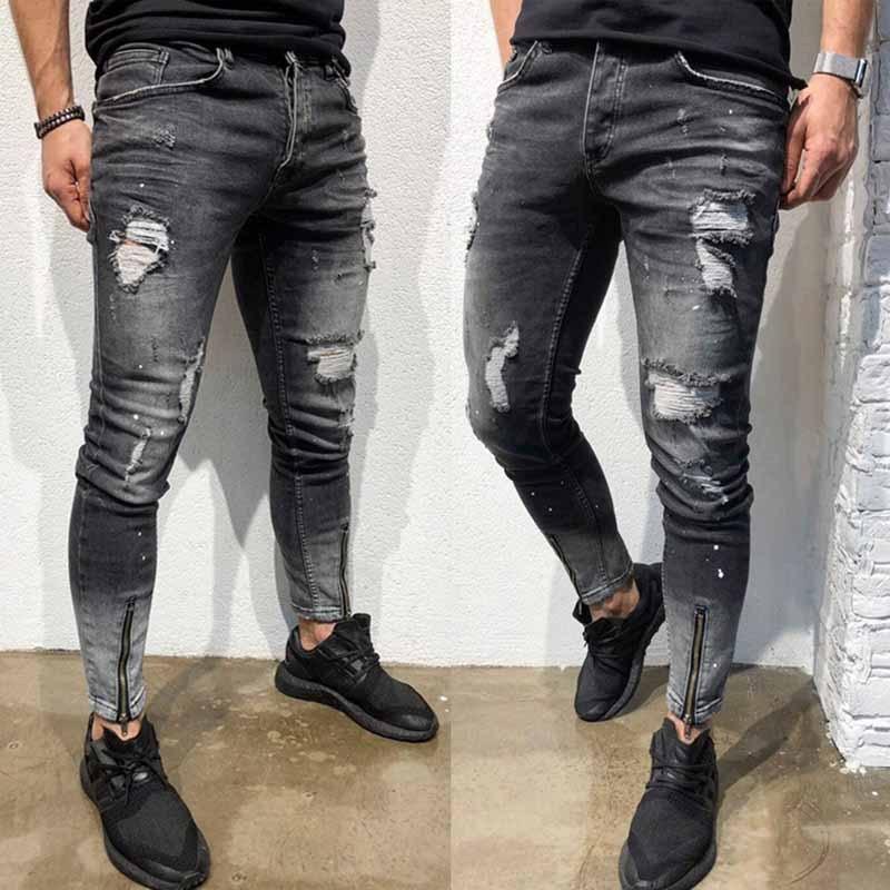 Biker Jeans 2019 Summer New Modis Jeans Men's Hole Denim Trousers Hem Side Zipper Black Jeans Feet Pants Size S-XXL XXXL