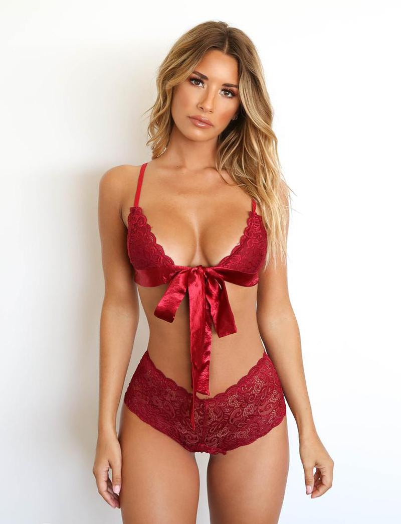 Women Sexy/Sissy Lace Bra Set Lingerie Thong See Through Push Up Bralette Nightwear Pajama Sets