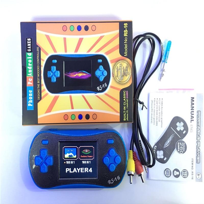 Portátil Reproductor De Video Juego de los niños de alta calidad de 2.5 Pulgadas 16 bits De La Consola gamepad juego Construido En 260 Juegos clásicos consola