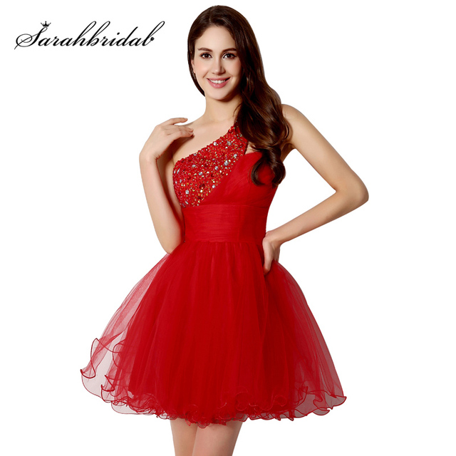 Sexy One Shoulder Short Graduation Dresses Beading Fashion Crystal Red Tulle Homecoming Cocktail Gowns vestidos de fiesta OS230