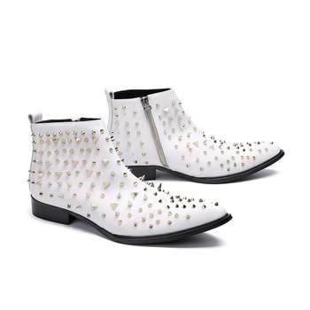Genuine Leather zip rivet ankle boots  Fashion high-top falt dress shoes pointed toe Martin boots big size 46