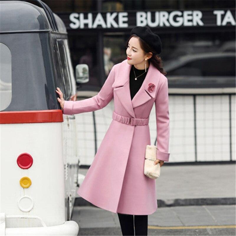 Grande 2018 Hiver Coréen De Qualité Rose Manteau Fleur Haute Laine Longue Style Taille Élégant wUqHwP