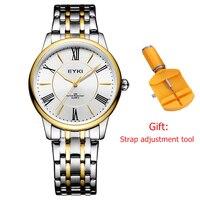 EYKI relogio masculino Mens Women Ultra Thin Business Gold Watch Luxury Brand Couple Watches Fashion Luminous Men Clock Black