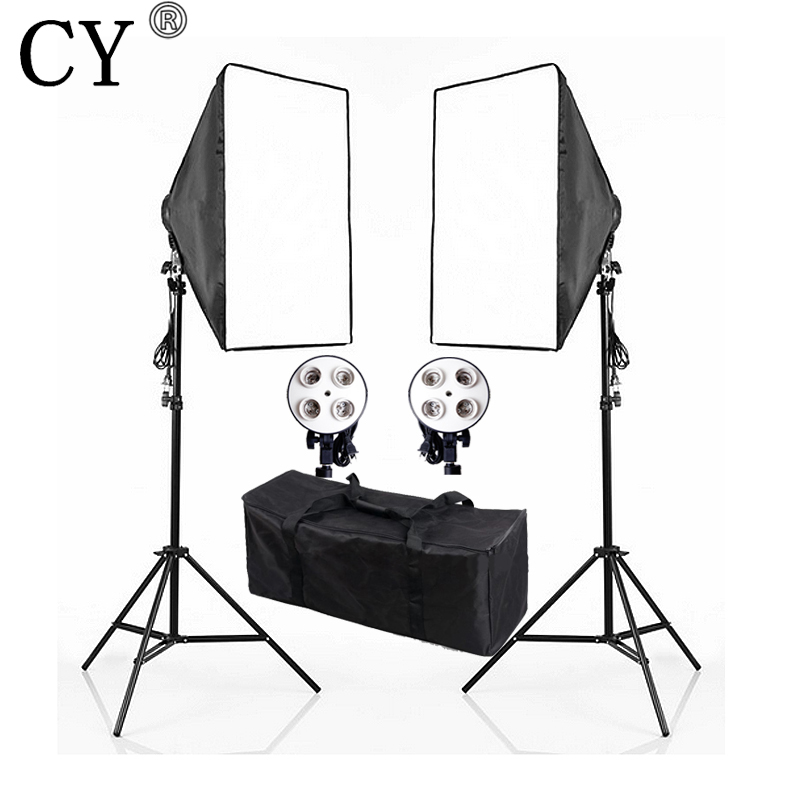 CY Photography Studio Continuous Soft box Lighting Kits E27 4 Socket Head+50x 70cm Softbox*2+Light Stand*2 Photo Light Set