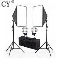 Photography Studio Continuous Soft Box Lighting Kits 110V E27 4 Socket Head 50x 70cm Softbox 2