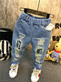 Boys Jeans 2-7Yrs Children Broken Hole Pants Trousers 2016 Spring Baby Boys Union Jack Jeans High Quality Patch Fashion Jeans