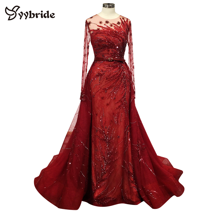 Newest High Quality Customized Red Beading Evening Dresses O-neck Mermaid With Chapel Train Crystals Lllusion Prom Dresses 2019