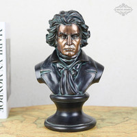 Western Classical Ludwig Van Beethoven Bust Statue Resin Craftwork Office Hotel Living Room Decoration Gift L2332