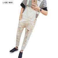 Mens Classic Distressed Denim Overalls For Juniors Black White Vintage Denim Bib Overalls Pants Ankle Length