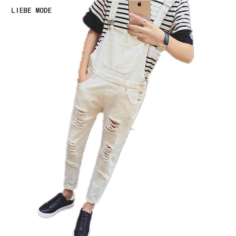 Erkek Klasik Gençler Için Sıkıntılı Denim Tulum Siyah Beyaz - Erkek Giyim