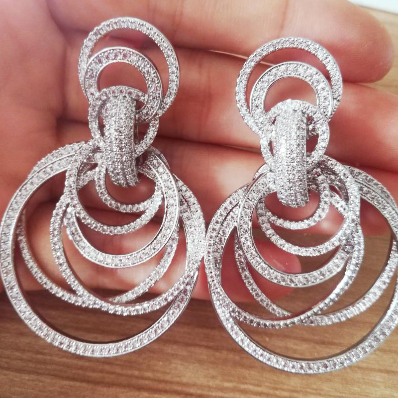 Missvikki luxe indien dubaï africain beaucoup de cercles boucles d'oreilles pour les femmes nobles bijoux de mariage de mariée complet clair CZ boucles d'oreilles