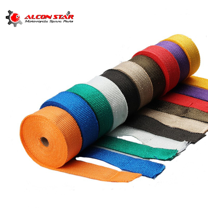 1.5mm*50mm*5m High Exhaust Pipe Header Heat Wrap Resistant Downpipe with Stainless Steel Ties Fireproof Insulating Cloth Kit