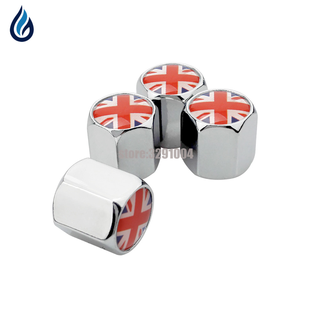 Car Styling Wheel Tire Valve Stems Caps Cover For UK Flag Logo For Land Rover Range Rover Jaguar Bentley BMW X3 Ford Mercedes Vw