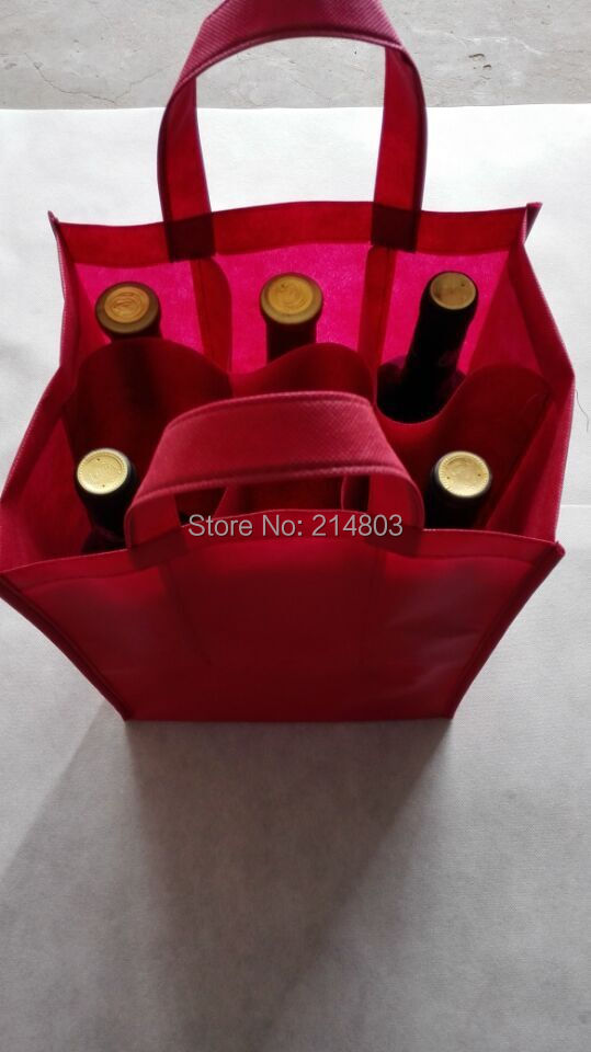 (500PCS/lot) PP Non woven750ml 6 bottles wine bag with logo