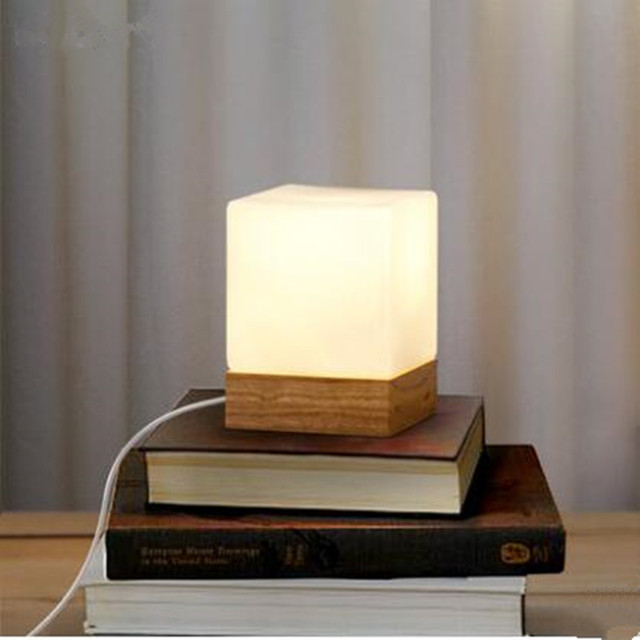 Modern Table Lamp Wood Base And White Square Gl Shade Led Indoor Light Desk Bed
