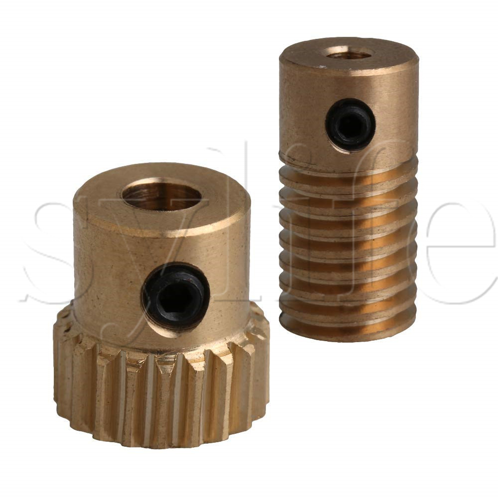 Yellow 0.5 Modulus Compact Brass Worm Reducer 20 T Wore Gear Wheel + 3mm Bore Worm Gear Shaft Yellow 0.5 Modulus Compact Brass Worm Reducer 20 T Wore Gear Wheel + 3mm Bore Worm Gear Shaft
