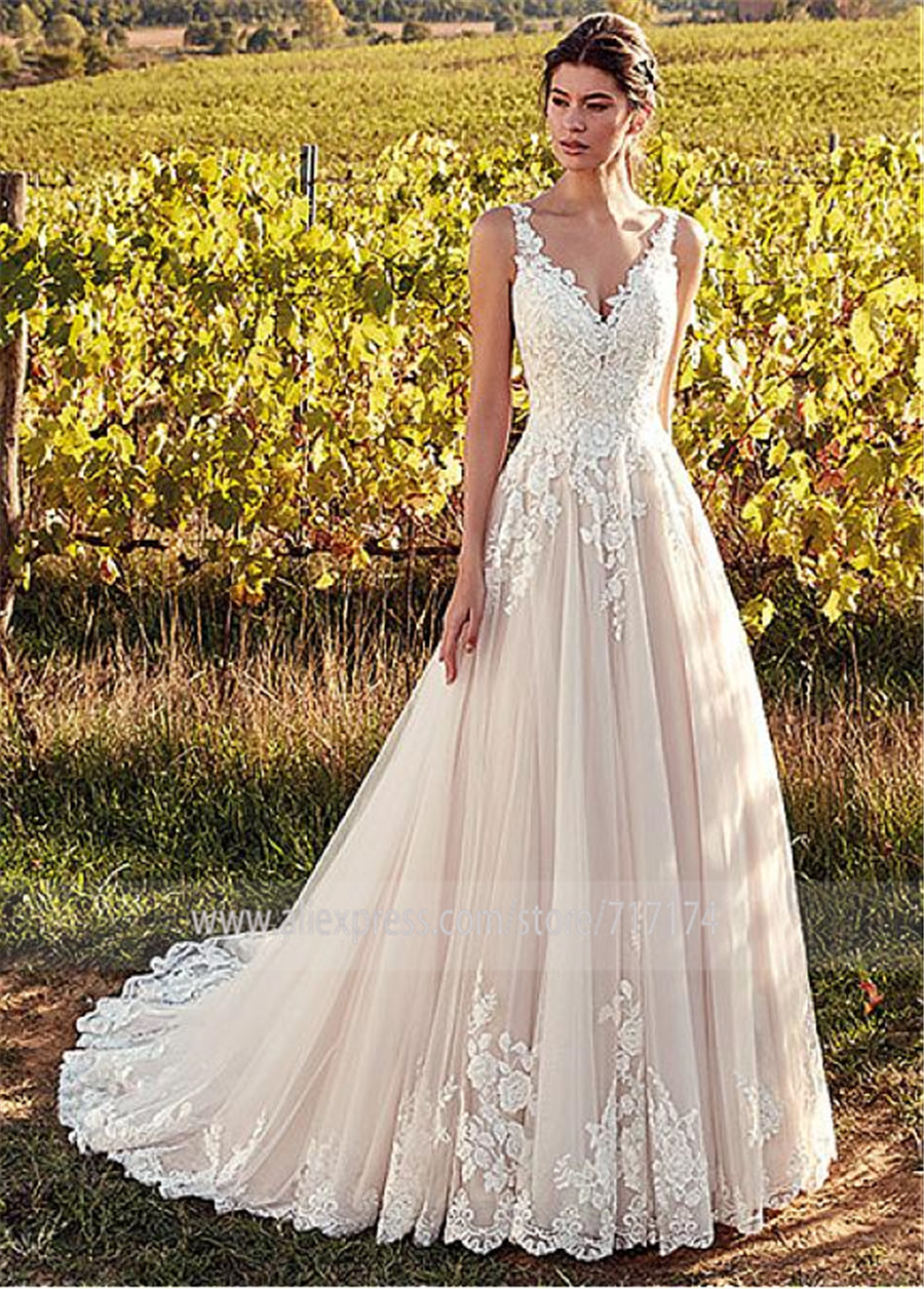 Elegant Tulle V neck Neckline A line Wedding Dresses With Lace Appliques  Nude Pink Bridal Gowns vestido de noiva