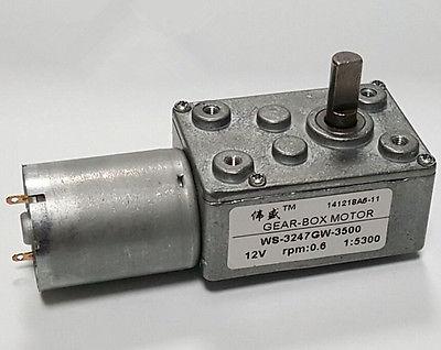 JSX5300-370 DC 12V 3500 rmin 0.6RPM High Torque Speed Reducer Worm Gear Motor