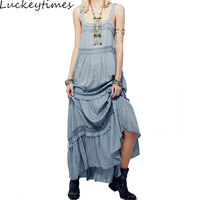 Maxi Dress Elegant Spaghetti Strap Women Dresses Patchwork Crochet Hippie Chic Lace Ruffle Tiered Loose Hem