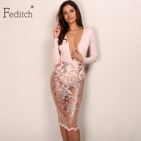 New Fashion Sequin Dress Sexy Lady Deep V Neck Mid Lace Dresses Women Transprant Long Sleeve