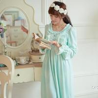 Winter Vintage Princess Sleeping Dress Long Sleeved Women Sleepwear Warm Crystal Velvet Long Nightgowns Female SA16006