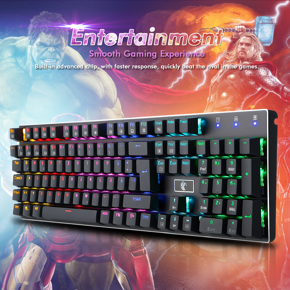 51c71771992 E-YOOSO Ergonomic USB Wired Gaming Mechanical Keyboard 105 Keys Cap Metal  Panel with Colorful