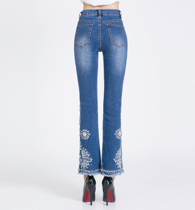 KSTUN FERZIGE Jeans Women Summer Slim Stretch Embroidered Flares Bells Ankle Length Pants Manual Beads Light Blue Elegant Ladies Girl 17
