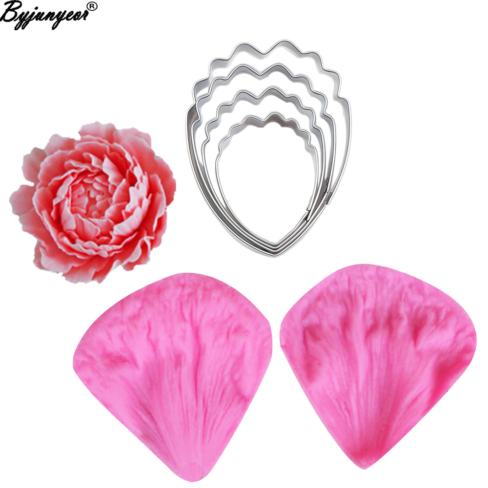 29 Species Peony Flower Silicone Mold Stainless Steel Silicon Cutter Veiner Skin Care Kits Fondant Gumpaste Cake Decorating Molds and ...