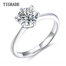 TIGRADE 925 Sterling Silver Ring Classic Wedding Ring engagement Ladies Hearts Arrows bague femme argent 925 Bride Jewelry helon elegant classic round 6mm engagement wedding semi mount setting ring sterling silver 925 three stone ladies jewelry ring