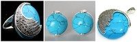 Vintage Blue Turquoises 925 Sterling Silver Marcasite Ring 7 10 Pendant And Earrings Sets