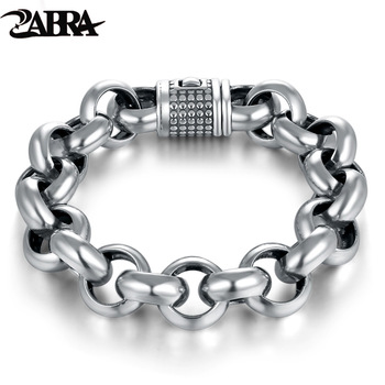 ZABRA Vintage Real Pure 925 Sterling Silver Rolo Chain Thick Bracelet For Men Thai Silver Handmade Punk Bracelets Biker Jewelry