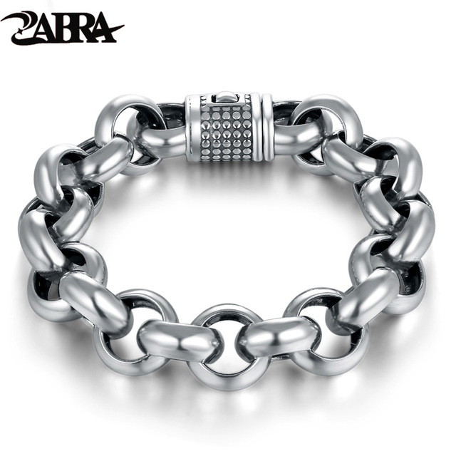 a1dfaf33901d39 ZABRA Vintage Real Pure 925 Sterling Silver Rolo Chain Thick Bracelet For Mens  Thai Silver Handmade