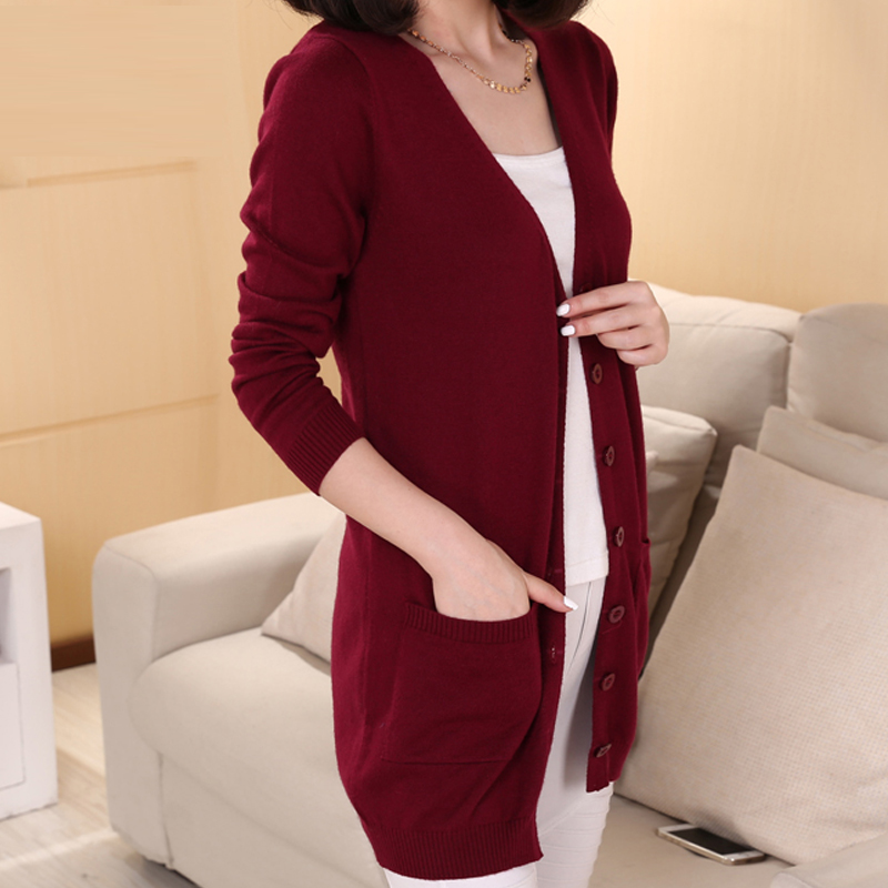 2019 New Fashion Long Cardigan Cashmere Wool Blend Sweater Lady's V-neck Long Sleeve Sweater Free Shipping