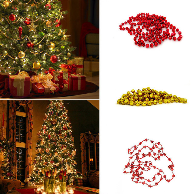 christmas tree bead chain decorative present hanging chains garland for christmas decoration christmas tree home ornaments