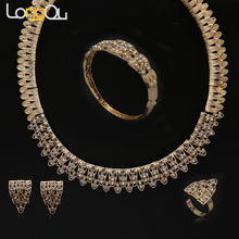 Hot Women Wedding Bridal Jewelry Sets Necklace earring bracelet Vintage Gold-color Fashion Crystal African Costume jewelry(China)