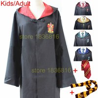 Adult Kids Harry Potter Costume Robe Women Men Gryffindor Cloak Hufflepuff Ravenclaw Slytherin Cosplay With Tie