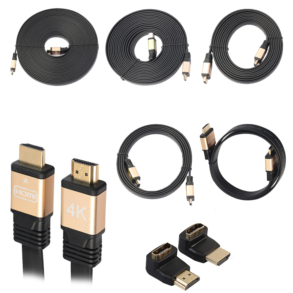 1m/1.8m/3m/5m/10m Ultra High Speed Male to Male HDMI V2.0 2160P 4K Cable with 90+270 Degrees Adapter for Computers Apple TV ultra slim profile white hdmi cable 1m 2m 3m 5m 10m high speed with ethernet supports hdmi version 1 4 1 4a 1 3 compatible