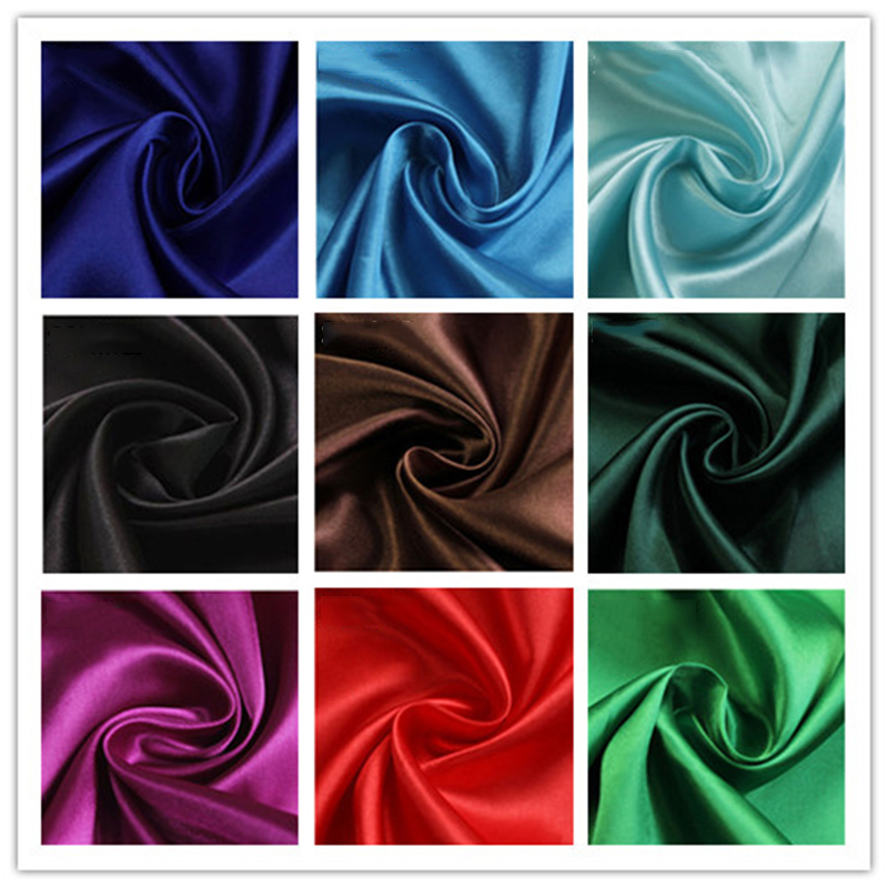Polyester Satin Fabric 1Yard 150*97cm Wedding Satin Fabric for Sewing and Party Decoration image