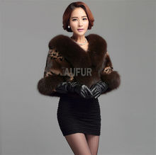 Real Mink Fur Shawl with Fox Fur Collar Coffee Bridal Fur Poncho Dress Evening Wrap Coat AU00403