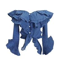 2017 New Women Slash Neckline Ruffle Jean Blouse Flare Sleeve Denim Shirt Sexy Top Design Off