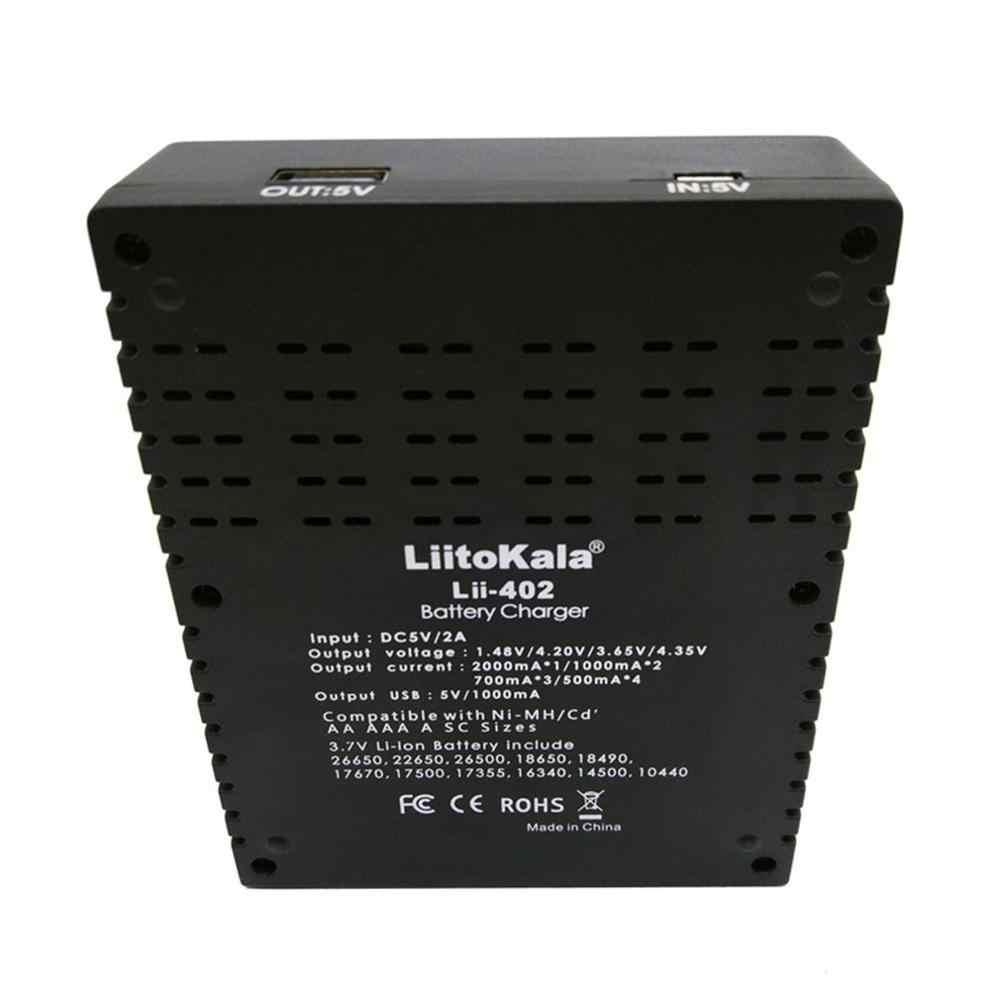 Liitokala Lii-402 18650 شاحن 26650 16340 14500 4 فتحات نيمه بطارية ليثيوم أيون الذكية شاحن بطاريات متعددة 5V 2A المدخلات