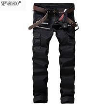 Newsosoo новые модные мужские дизайнерские Плиссированные Байкер джинсы Повседневная стретч джинсовые карманы тонкий прямые черные джинсы для мужчин MJ49