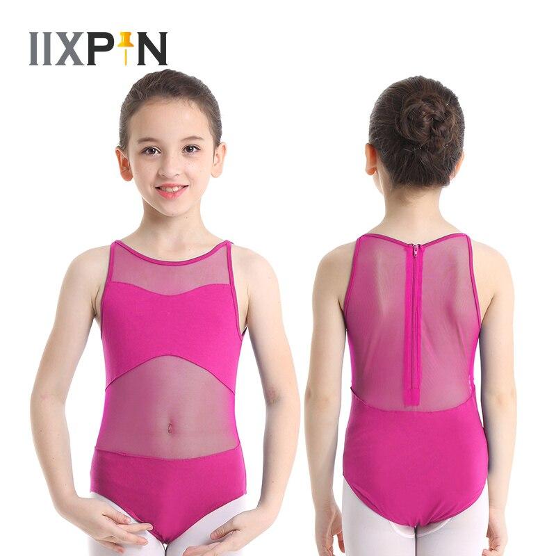IIXPIN балетный купальник для девочек, танцевальный костюм без рукавов, сетчатый балетный гимнастический купальник с застежкой молнией сзади|Балет|   | АлиЭкспресс